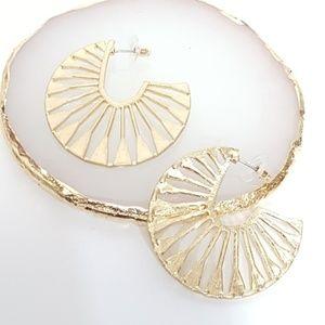 Boho Hoop Earrings Hollowed Out Gold Tone